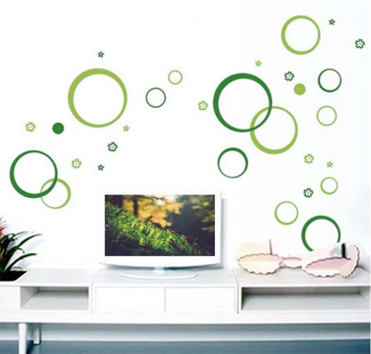 Stenska nalepka - zeleni krogci