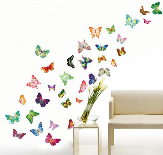 Stenska nalepka - metulji