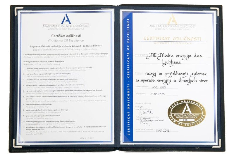 Certifikat odličnosti